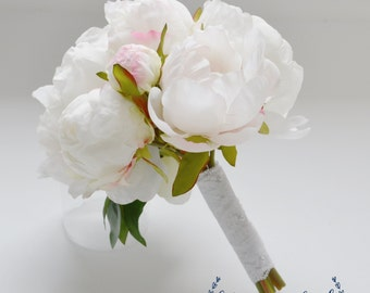 Small White Peony Bouquet, Peony Bouquet in Cream, White, Peonies, Silk Bouquet, Wedding Bouquet, Bridesmaid Bouquet