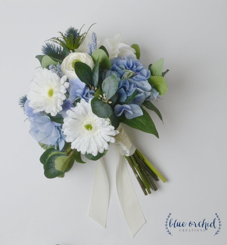 Blue Bouquet Wedding Bouquet Boho Bouquet Daisy Thistles Etsy