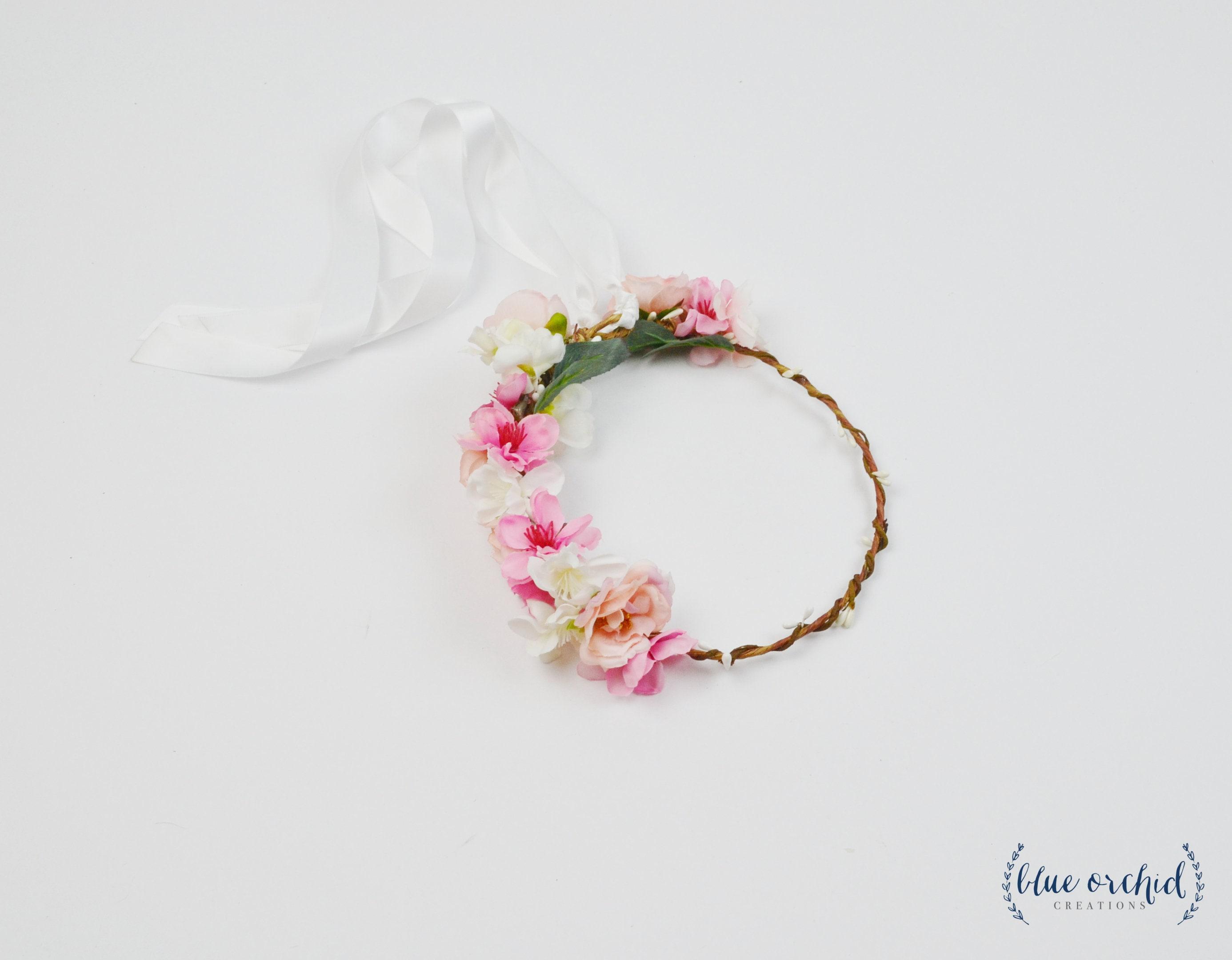 Pink Flower Crown Flower Crown Artificial Flower Crown Silk Etsy