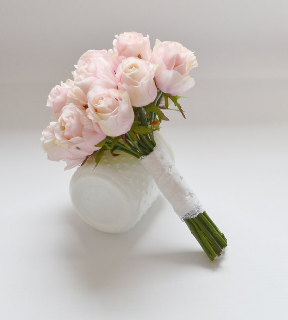 Rose bud bouquet bridal bouquet pink rose bud bouquet blush etsy image 0 mightylinksfo
