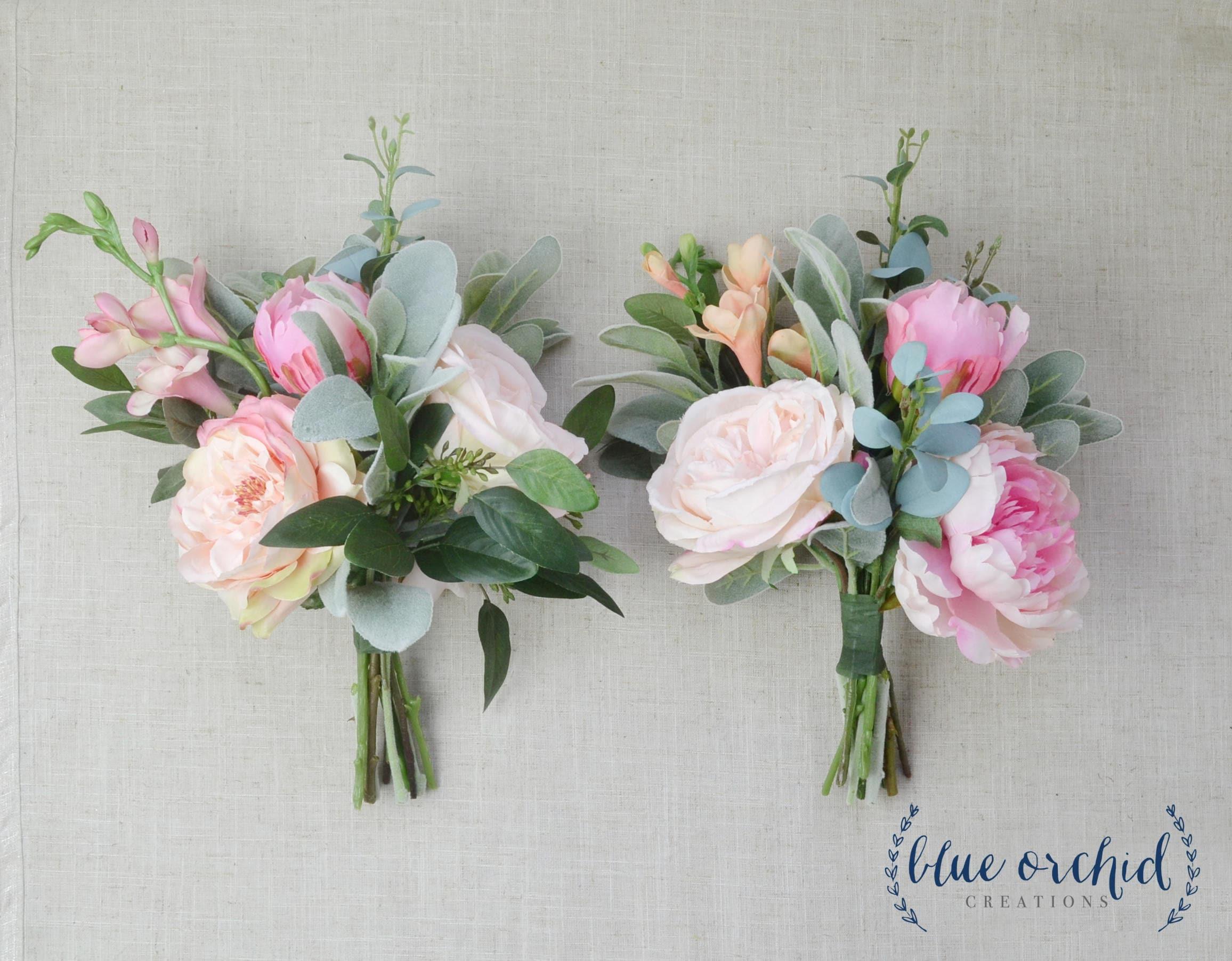 Bridesmaid Bouquet Boho Wedding Flowers Silk Flowers Etsy