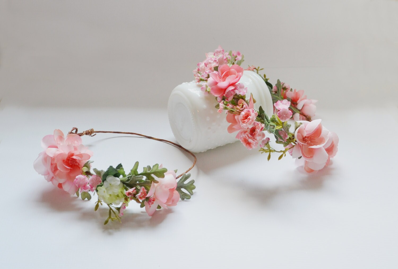 Flower crown silk flower crown floral crown peach flower etsy zoom izmirmasajfo