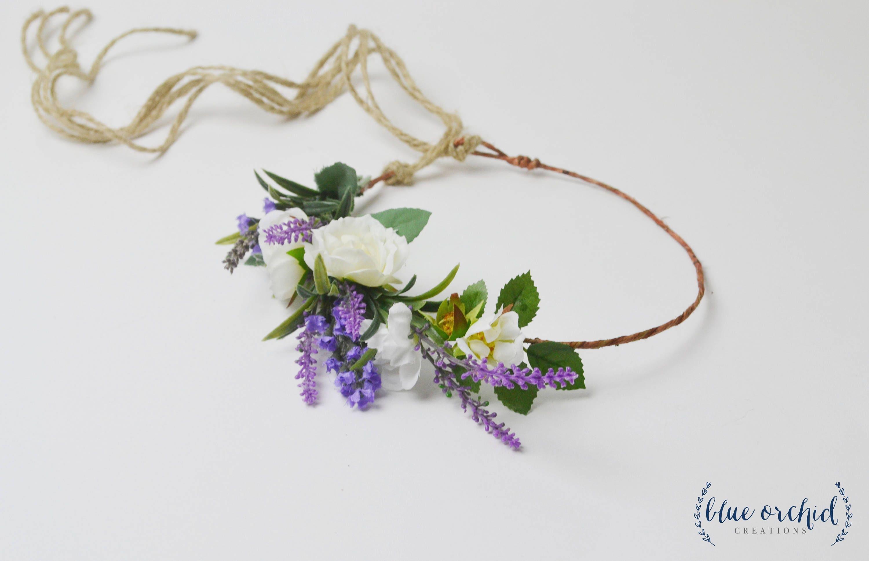 Flower crown silk flower crown faux flower crown lavender etsy zoom izmirmasajfo