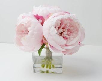 Peony Arrangement, Silk Peonies, Flower Arrangement, Silk Flower Arrangement, Vase of Peonies, Flowers, Silk Flowers, Blush Peonies