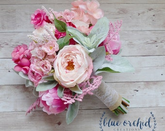 Pink and Cream Rustic Wedding Bouquet, Pink Wedding Bouquet, Peony Bouquet, Boho Bouquet