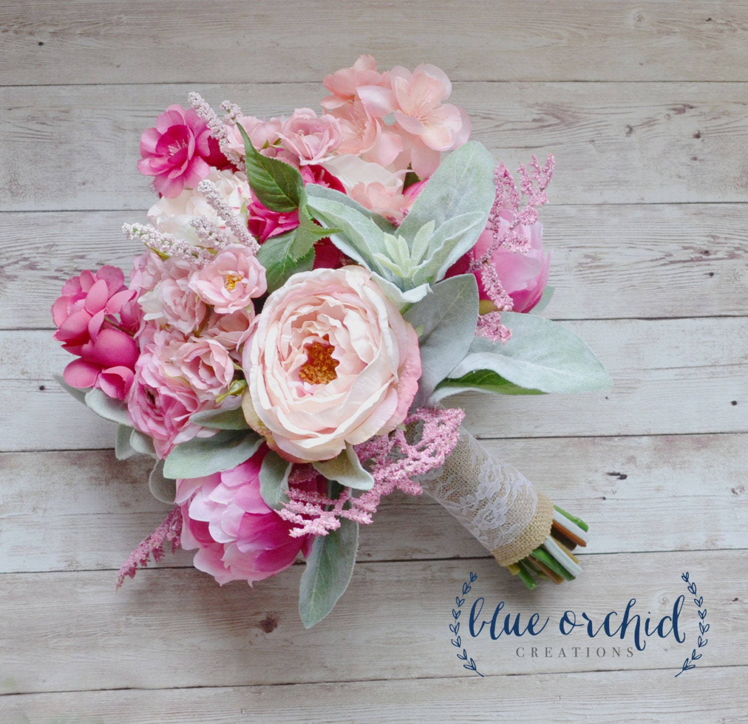 Pink And Cream Rustic Wedding Bouquet Pink Wedding Bouquet Etsy