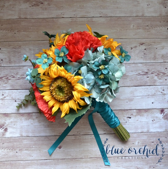 Fall Wedding Flowers List: Sunflower Bridal Bouquet With Red Poppies Teal Turquoise