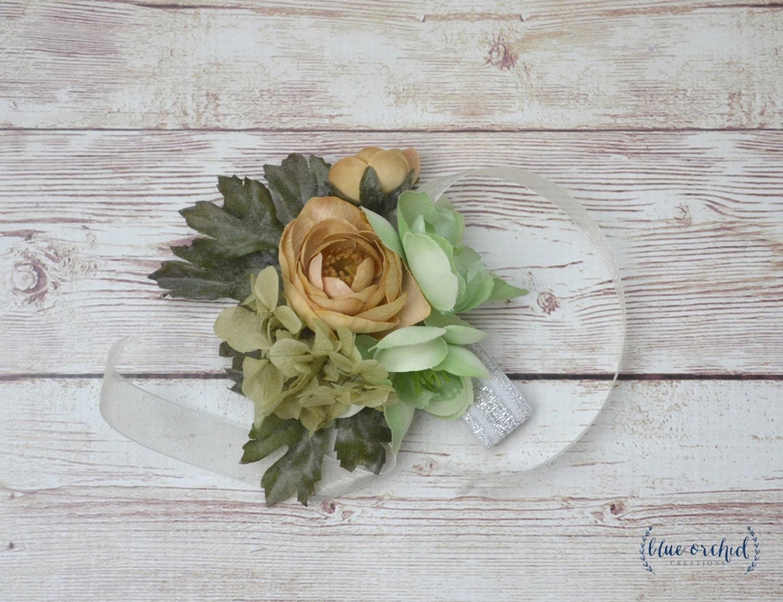 Wrist Corsage Corsage Wedding Corsage Silk Flowers Silk Etsy