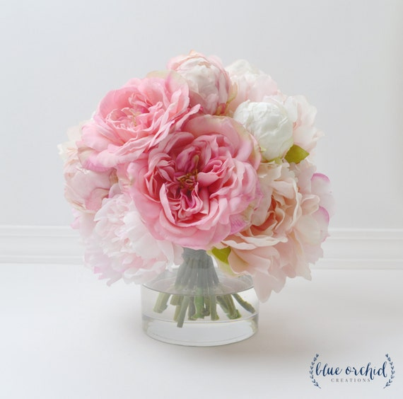 Peony arrangement silk peonies flower arrangement silk etsy image 0 mightylinksfo