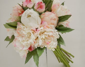 Silk Peony Bouquet Light Pink Peonies Shabby Chic Peony Flowers Rustic Chic Lace Pink Silk Bouquet Bridesmaid Bouquet Vintage Inspired