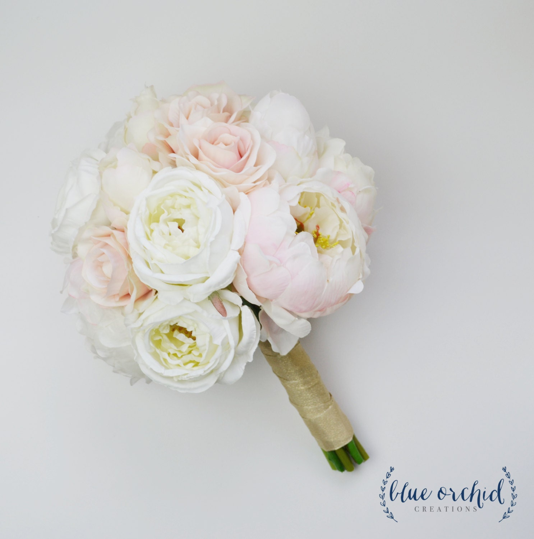 Wedding Bouquet Silk Wedding Bouquet Peony Bouquet Blush Etsy