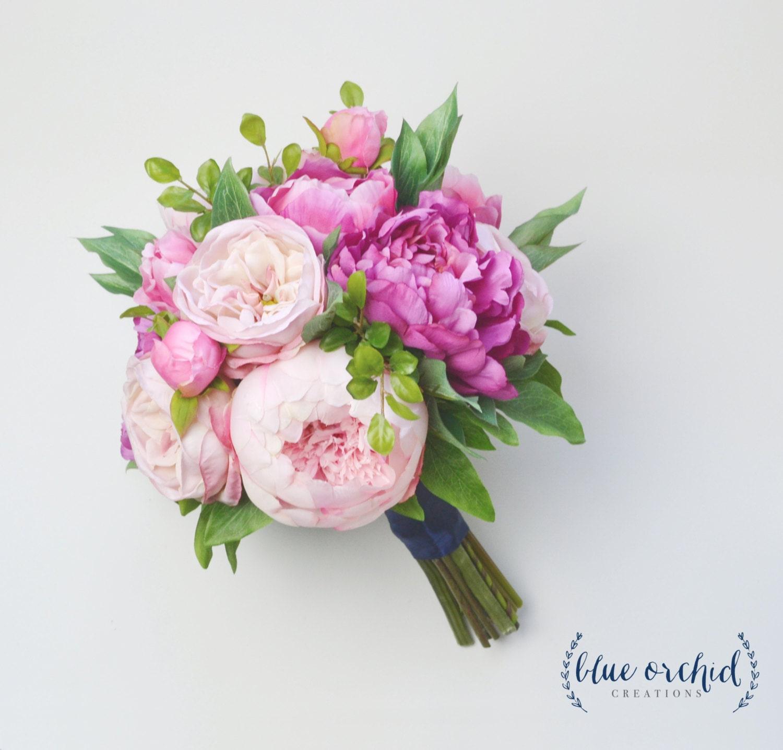 Silk Flower Bouquet Wedding Bouquet Peony Bouquet Pink Etsy