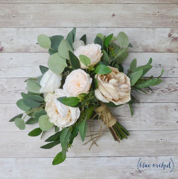 Wedding Bouquet Eucalyptus Bouquet Peony Bouquet Cabbage Etsy