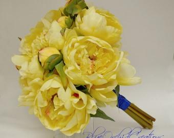 Yellow Peony Bouquet - Wedding Bouquet Yellow Bouquet Peony Bouquet Shabby Chic Weddings Bouquet Package