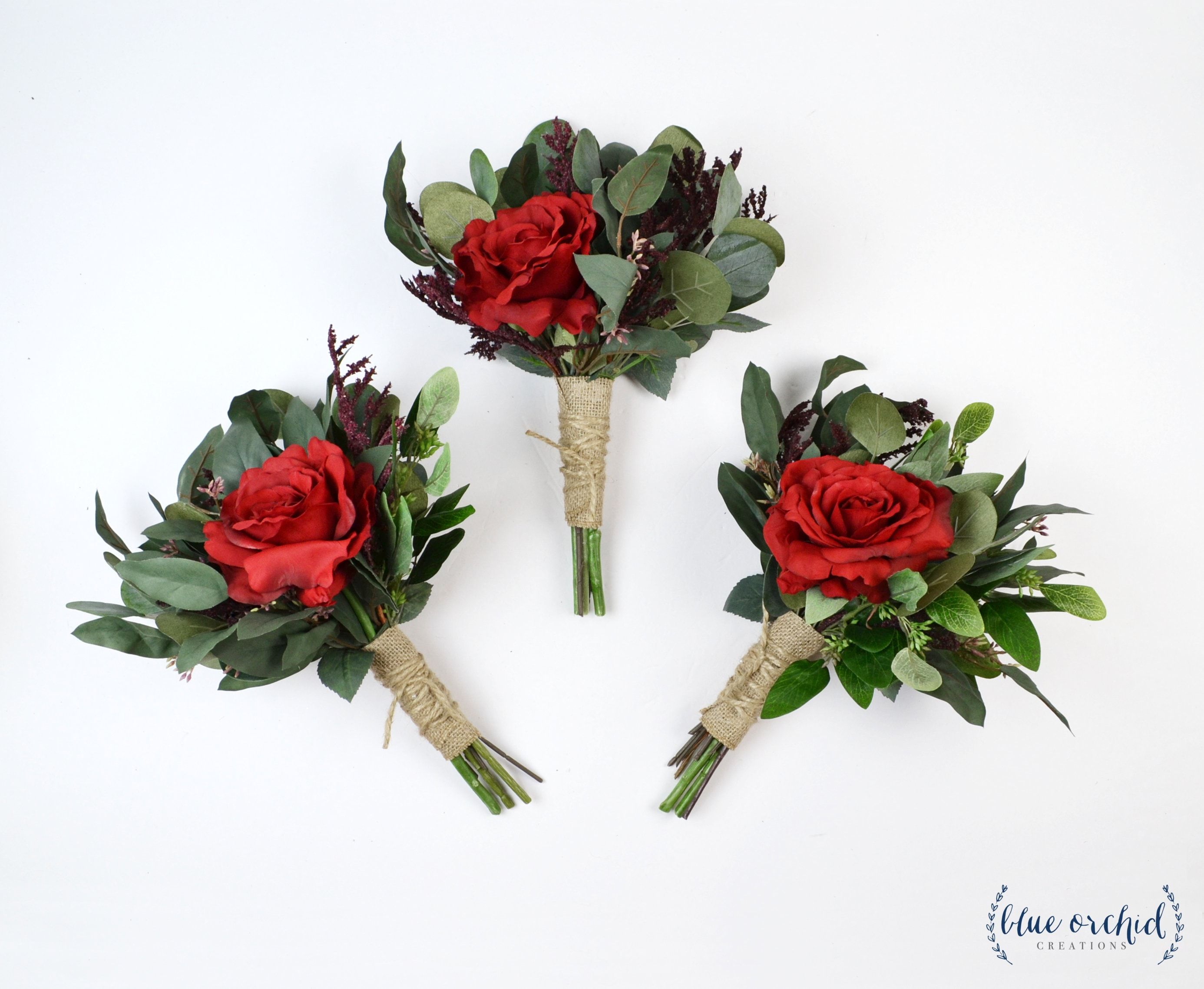 Wedding Flowers Red Bouquets Burgundy Bouquets Bridesmaid Etsy