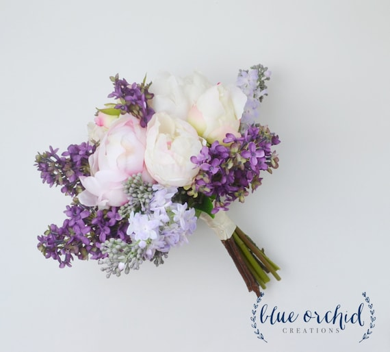 Wedding bouquet lilac bouquet peony bouquet lavender silk etsy image 0 mightylinksfo