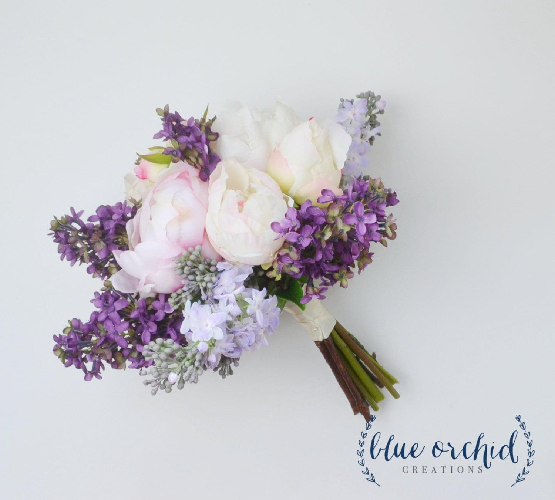 Wedding Bouquet Lilac Bouquet Peony Bouquet Lavender Silk Etsy