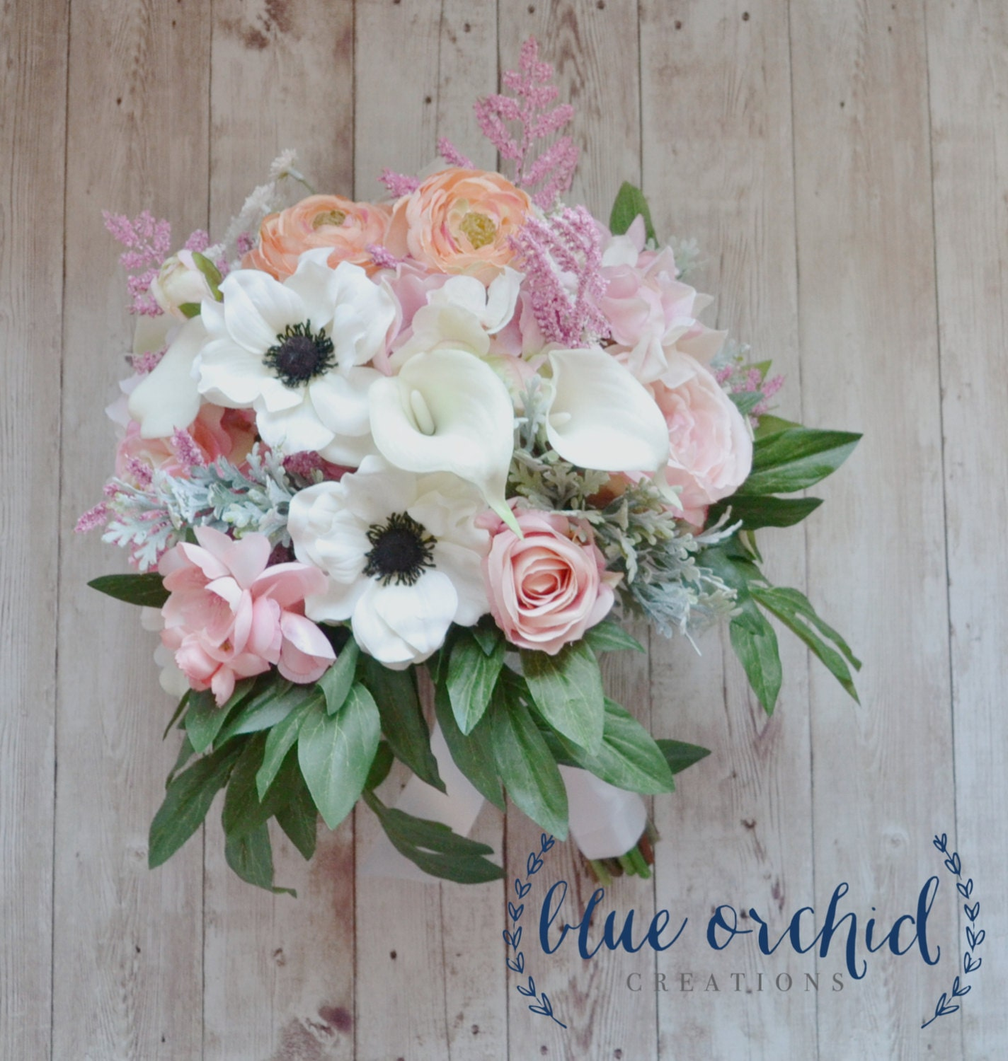 Cream Pink And Blush Peony Bouquet With Anemones Ranunculus Etsy