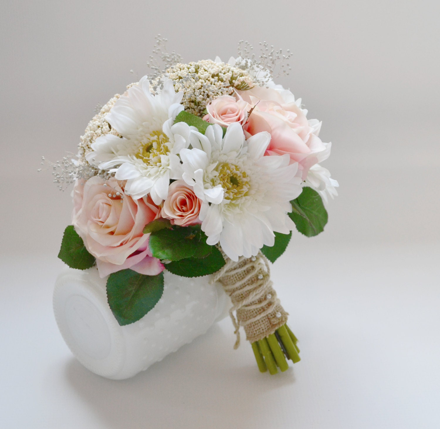 Wedding Bouquet Pink Roses Green Berries Leaves White Etsy