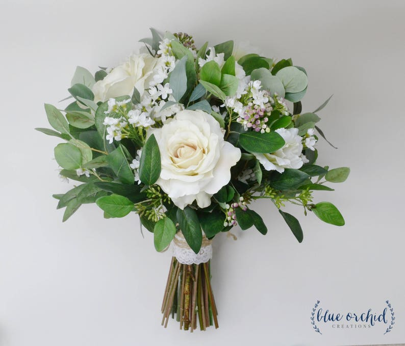 White Wedding Flowers Centerpieces: Wedding Flowers Wedding Bouquet Eucalyptus Bouquet Silk