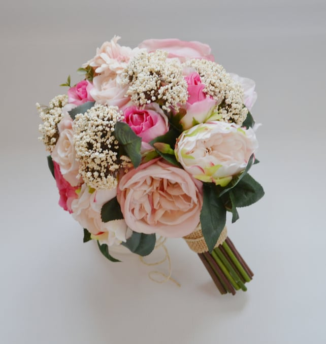 shabby chic wedding bouquet in pink roses queen anne s etsy rh etsy com Shabby Chic Wedding Food Shabby Chic Wedding Table Settings