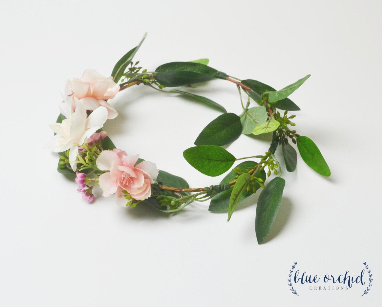 Flower crown floral crown silk flower crown pink flower etsy zoom izmirmasajfo