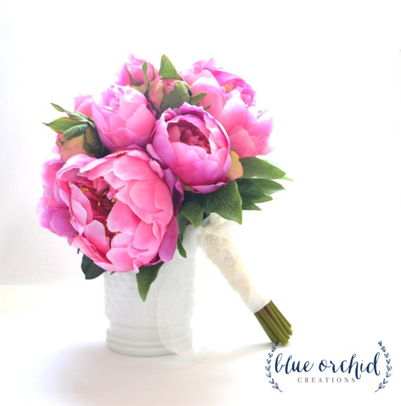 Hot pink peony bouquet peony wedding bouquet hot pink etsy image 0 mightylinksfo