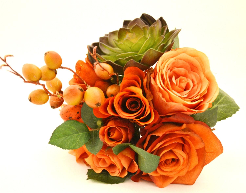 Fall Bouquet Bridesmaid Bouquet Rustic Bouquet Orange Etsy