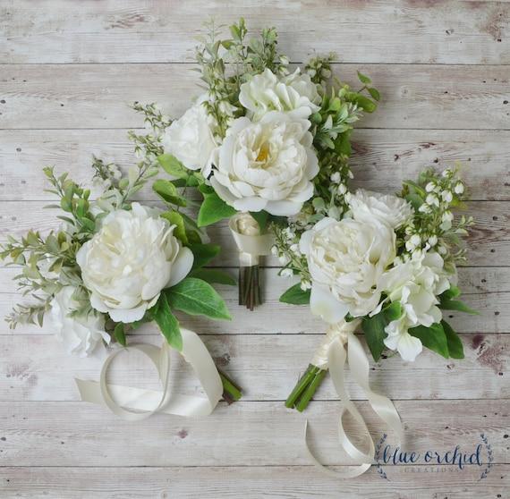 Boho Bridesmaid Bouquet Silk Flowers Silk Wedding Bouquet | Etsy