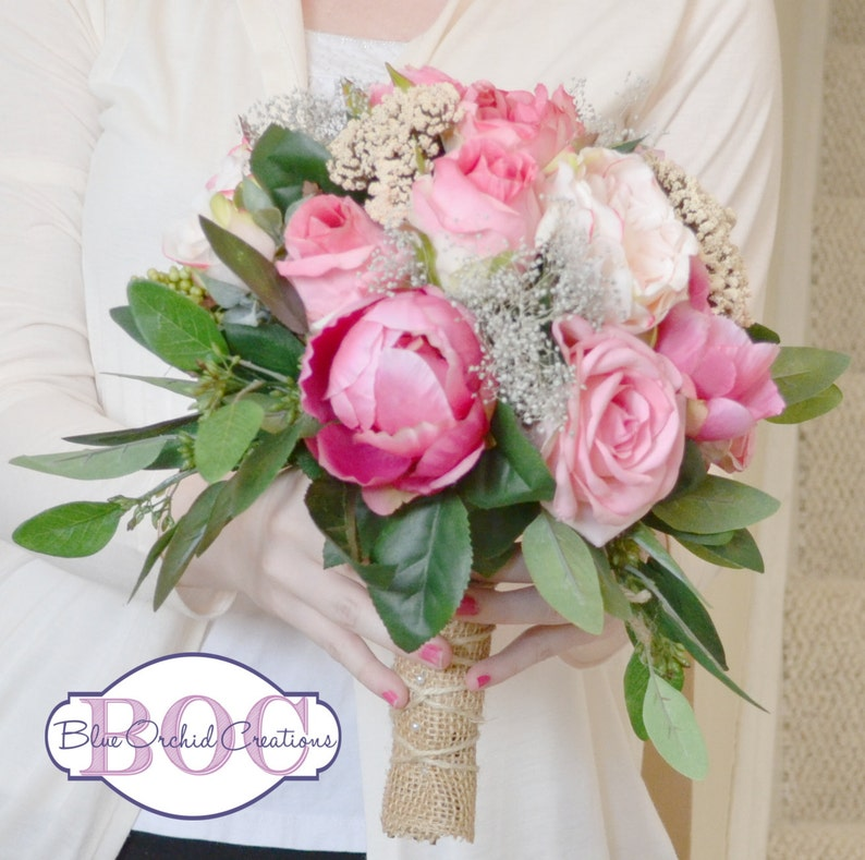 Garden Rose Wedding Bouquet Bridal Bouquet Pink Garden Bouquet Seeded Eucalyptus Rose Peony