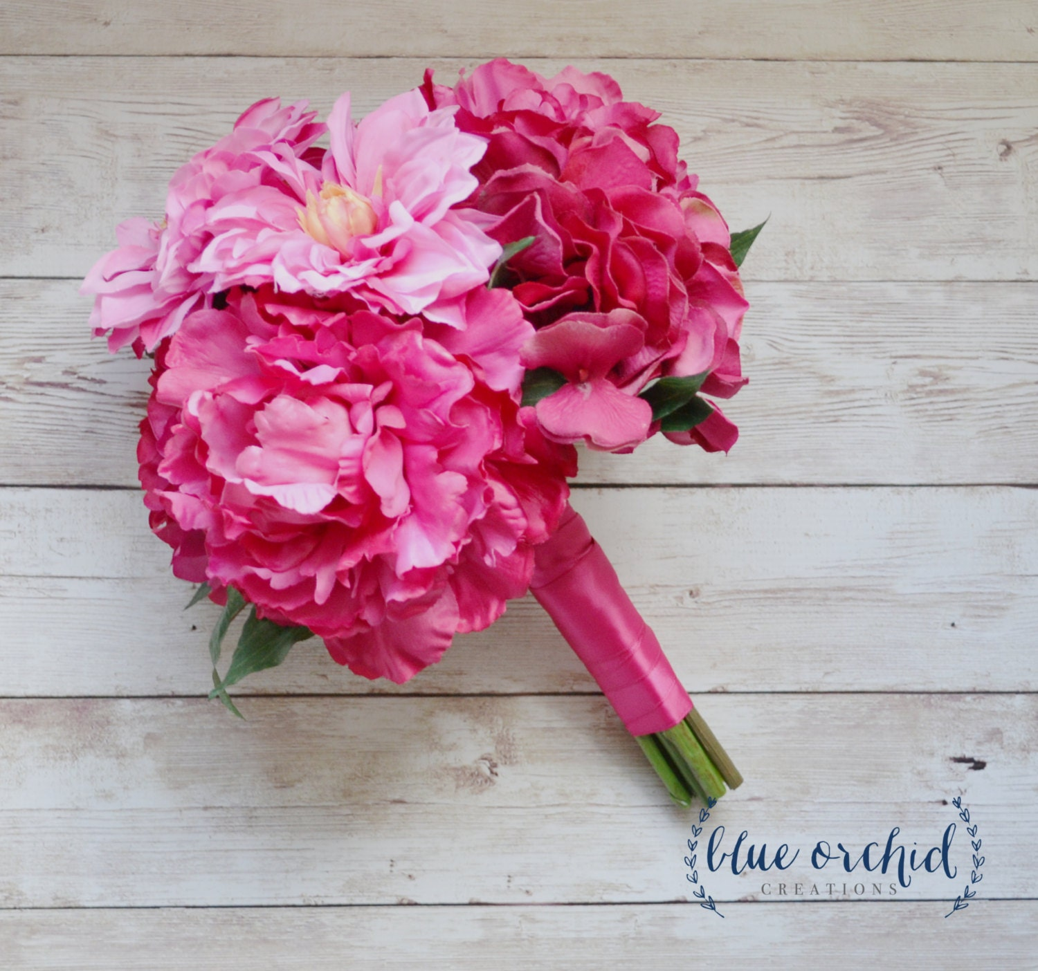 Hot Pink Peony And Hydrangea Bouquet Etsy
