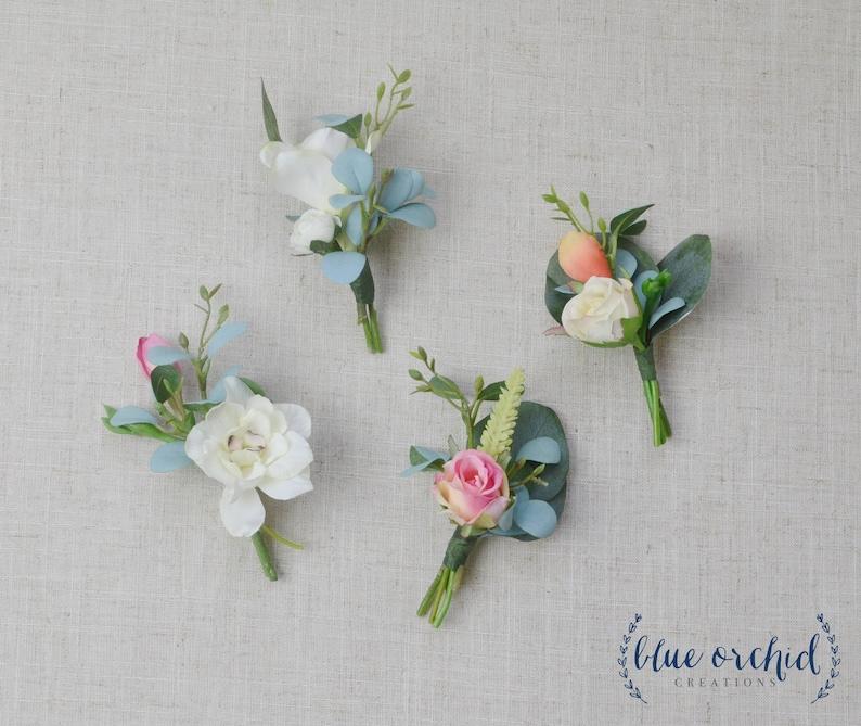 Green Boho Boutonniere Wedding Flowers Boho Wedding Boutonniere Eucalyptus Boutonniere Artificial Boutonniere Pink Faux Boutonniere