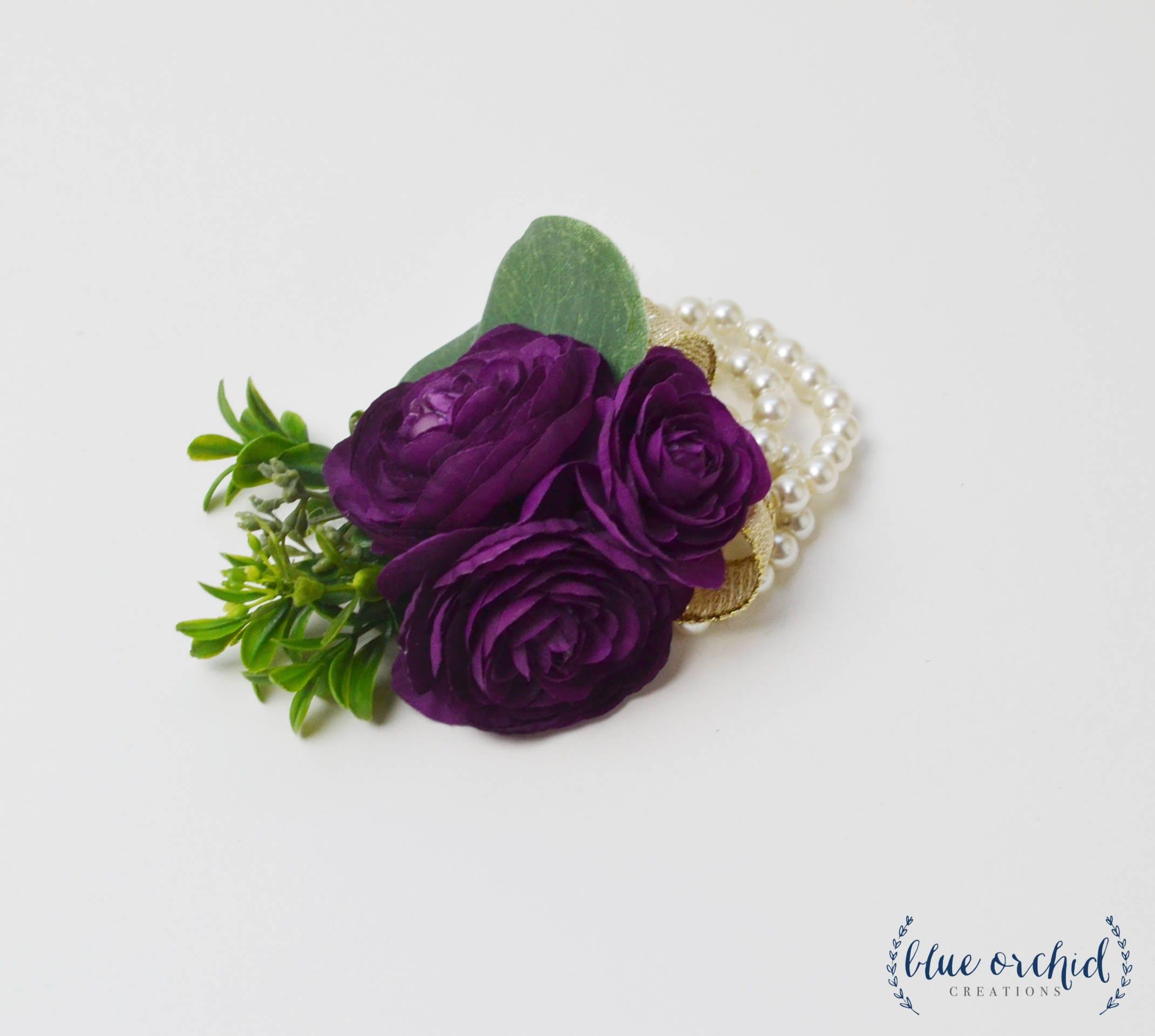 Purple Wrist Corsage Wrist Corsage Wedding Corsage Prom Etsy