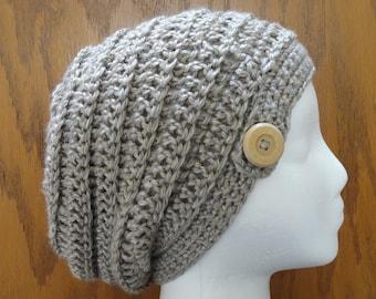 b6631d02b08 Crochet PATTERN Slouchy Beanie Beehive Button Beanie Hat Pattern Only