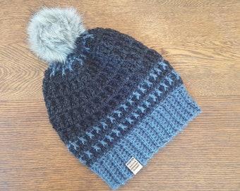 69fccefe395 Crochet Slouchy Beanie Black Slate Blue Faux Fur Pompom Northwoods Beanie  Hat