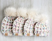 Baby Hat with Faux Fur Pompom - Baby Girl Beanie - Light Beige Pink Green Blue Baby Beanie - Infant Waffle Hat - Baby Hat in 4 Sizes