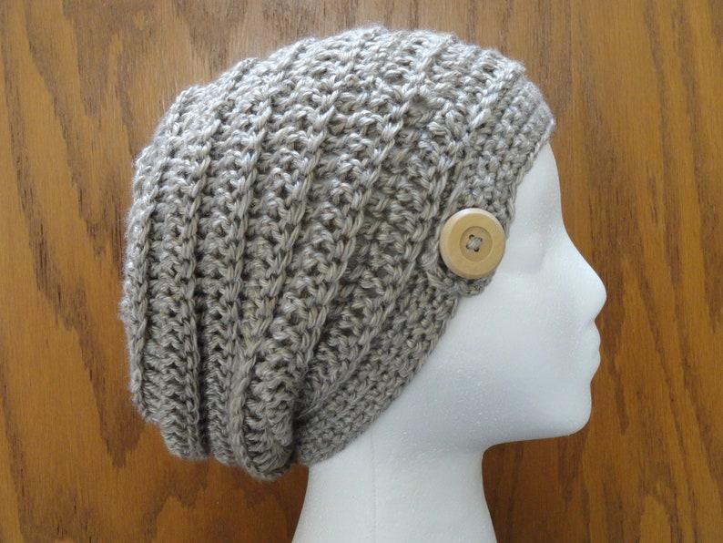 e13795e3a69 Crochet PATTERN Slouchy Beanie Beehive Button Beanie Hat