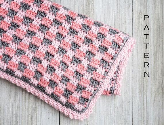 Crochet Baby Blanket Pattern Checks Please Baby Blanket Etsy