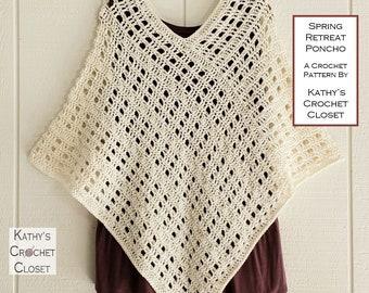 Crochet Poncho PATTERN - Spring Retreat Poncho - Spring Poncho Pattern - Summer Poncho - Openwork Poncho - Easy Poncho Pattern
