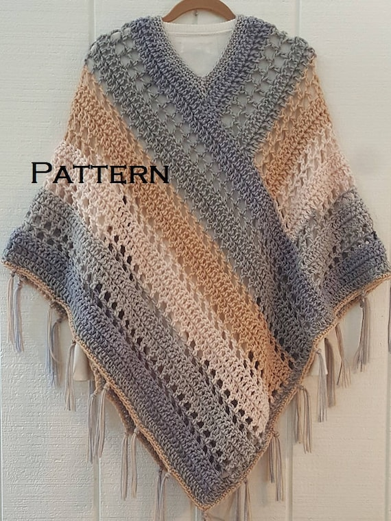 Crochet Pattern Easy Weekend Poncho With Fringe Bernat Pop Etsy