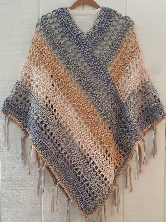 Crochet Pattern Easy Weekend Poncho With Fringe Bernat Pop Etsy