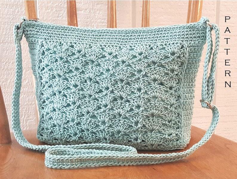 Crochet Bag PATTERN  Lace Panel Crossbody Bag  DIY Crochet image 0
