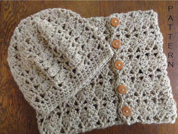 Crochet Pattern Chunky Lace Cowl And Beanie Pattern Only Diy Etsy
