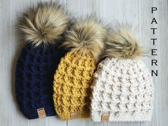 Mommy and Me Winter Hat with Pom Pom  Crocheted Winter Hat Womens