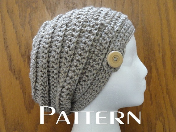 Crochet Slouchy Beanie Pattern Beehive Button Beanie Hat