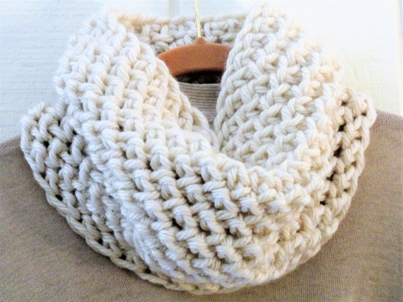Crochet Cowl Pattern Chunky Herringbone Cowl Diy Circle Scarf Etsy