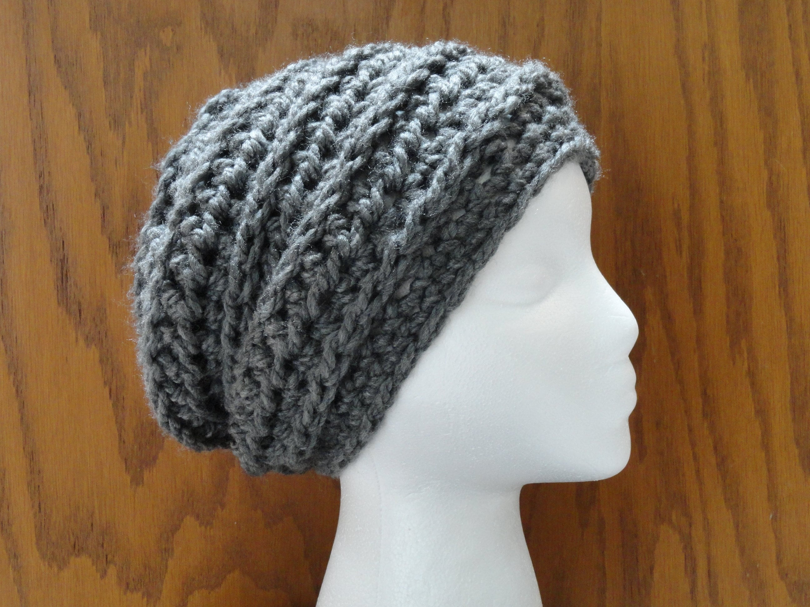 Crochet Pattern Slouchy Beanie Chunky Chain Design Pattern Etsy