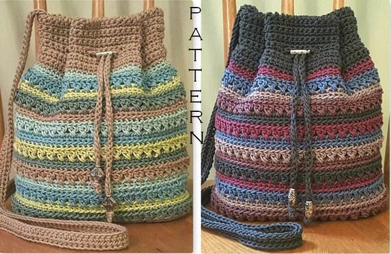 Crochet Pattern Crisscross Drawstring Bag Diy Crossbody Bag Etsy