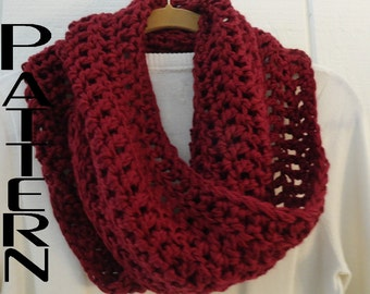 Crochet PATTERN Classic Infinity Cowl Scarf Pattern Only Circle Loop Eternity Scarf