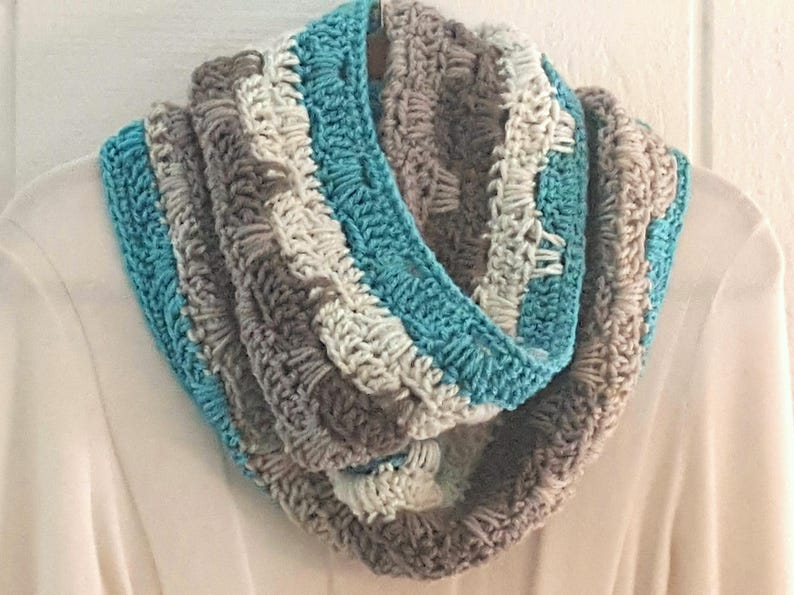 Crochet Scarf PATTERN - Cake Scape Infinity Scarf - Caron Cakes Scarf  Pattern - DIY Crochet Infinity Scarf - Striped Crochet Scarf Pattern